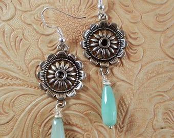 Southwestern Cowgirl  Earrings - Tibetan Silver Fancy Wagon Wheels with Mint Green Chrysoprase Dangles - Western - Rodeo Jewelry