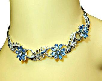 Blue Rhinestone Flower Necklace Silver Tone