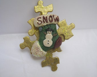 Snowman Puzzle Christmas Brooch Handmade Holiday Jewelry Christmas Pin  Woman Teen Gift Idea