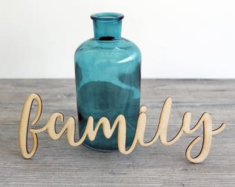 """6"""" - 18"""" Family Wood Word - Laser Cut Wood Word - Laser Cut Decor - Wooden Word - Word Art - Wood Word for Wall Decor"""