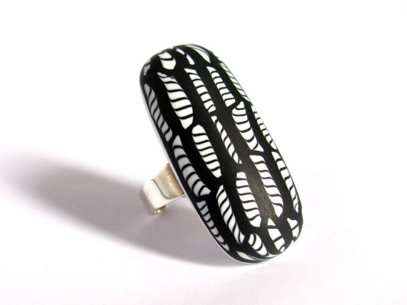 OOAK graphic black and white ring - sterling silver and polymer clay - ethnic ring