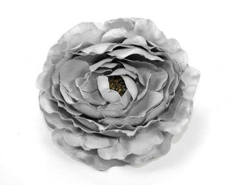 Ruffle Ranunculus in Gray - 4 Inches  ... silk flower, artificial flower, millinery craft - ITEM 0584