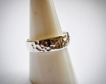 Sterling silver Hammered band Ring
