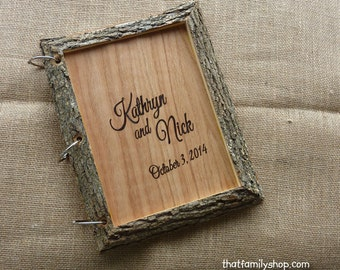 Rustic Wedding Guest Book Personalized Wood Guestbook Parchment Paper Bark Names Dates Initials Tree Wedding Sign