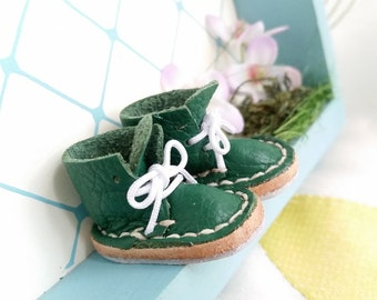 Lace Up Shoes Mini Leather Laced Boots Avocado Green For Neo Blythe Doll And Azone Pure Neemo M Size By MizuSGarden