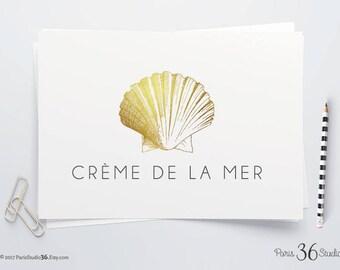 Instant Download DIY Logo Design Photoshop Logo Gold Foil Logo Seashell Logo Watercolor Seashell Vintage Logo PSD Logo Template Website Logo