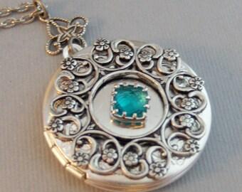 Blue Topaz Lace,Locket,Antique Locket,Silver Locket,Blue Topaz,December,Birthstone,Blue,Ocean,Bird Locket,Bird Jewelry. Valleygirldesigns.
