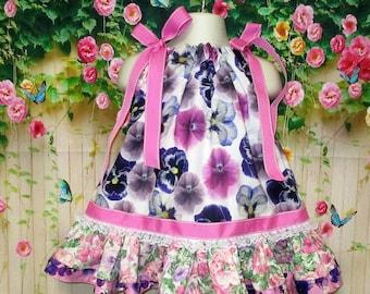 Girl Dress 12M-18M Baby Girl Dress, Pink, Purple, Pansy, Flower Pillowcase Dress, Pillow Case Dress, Sundress, Boutique Dress