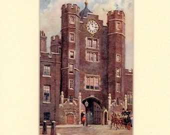 Original Edwardian Mounted Picture Postcard of St James's Palace, London 1904