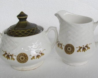 Circa 1800's Vintage Enoch Wedgwood Tunstall Pottery Original Creamer & Sugar Bowl with Lid Gold Medallion, Made In England