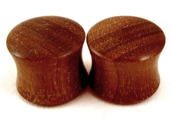 """Walnut Wooden Plugs - PAIR - 2g (6mm) to 1 3/4"""" (44mm) including 0g (8mm) 00g (9mm) (10mm) 7/16"""" (11mm) 1/2"""" 9/16"""" 5/8"""" 3/4"""" 7/8"""" ear gauges"""