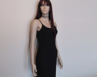 90s Vtg Black Low Slung Back Long Slinky Goth Maxi Ballgown Dress Size Small