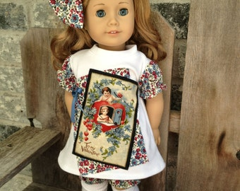 """American Girl Vintage style dress, bow and bloomers. 18"""" doll blue red"""