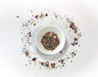 Organic Serenity Tea. Loose Leaf Tea Blend. Calming Tea Blend. Vegan Friendly Tea. Organic Tea Blend. Dried Herbal. Green Tea