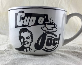 Vintage 1994 Large Coffee Cup, Mug, Cup O Joe, Cup of Joe, Black and White, Limited Edition, Stoneware, Made in Thailand