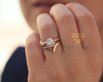 Exceptionnel 18k Rose Gold Bohemian Engagement Ring With Matching Nesting V Shaped  Wedding Band Bridal Set Diamond