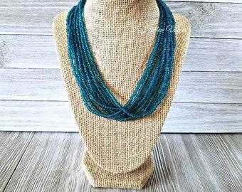 Multi strand necklace, multiple strand necklace, teal necklace, teal blue necklace, teal beaded necklace, blue beaded necklace, blue necklac