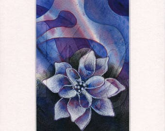 Matted Mixed Media Illustration of Flower on Abstract Blue Background