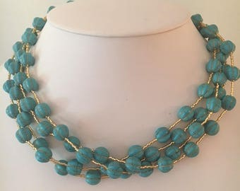 Pumpkin Shaped Turquoise and Gold Necklace