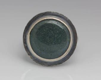 Leland Blue Ring, Leland Blue and Sterling, Unisex, Blue Green, Artisan Ring, Size 7.75