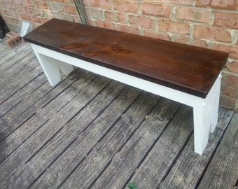 Farmhouse Style Bench Brown and White - Dining Bench Porch Bench Entryway Bench Kitchen Bench Mudroom Bench Living Room Bench
