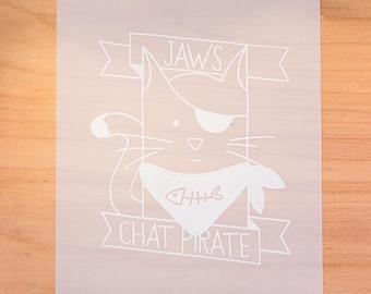 "Screen print 8 x 10 ""- white print on matte transparent paper -""Jaws Pirate cat""- fine art print limited edition - screen print"