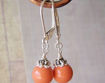 Coral Pearl Earrings Sterling Silver Ear Wire 8mm Swarovski Crystal Pearl