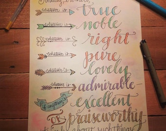 Bible verse print - hand drawn, Philippians 4:8 with Colorful Arrows