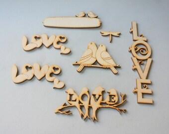7 laser cuts. Wood laser cuts. Unfinished wood lazer cut. Laser cut