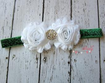 Dark Green & White Glitter Headband with Rhinestone Center - Spearmint - Winter -  Baby Infant Toddlers Girls  White Evergreen Kelly Green