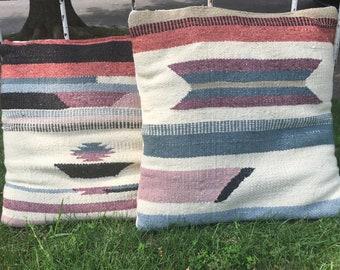 "Vintage Kilm Pillows, Matching Pair, 16"" Square, Patio Porch Pillows, Picnic Pillows"