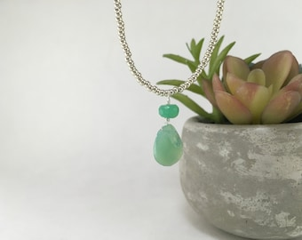 Silver Beaded Chalcedony Necklace
