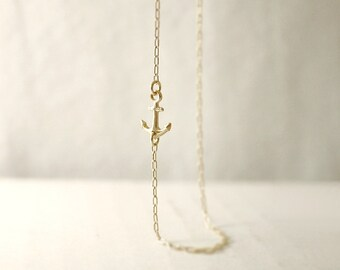 Gold sideways anchor necklace - center or side - nautical minimal jewelry