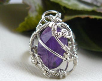 Amethyst Ring ~ Freeform Ring ~ Wirewrapped Ring ~ Wirewrapped Amethyst Ring ~ Art Nouveau Ring ~ Fantasy Ring ~ Whimsical Ring ~ Size 7