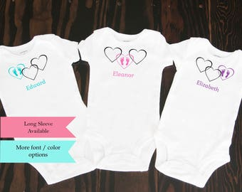 Triplets etsy triplet baby bodysuits triplet clothing intertwined hearts set of 3 great shower gift for triplets multiples custom names colors shirts negle Choice Image