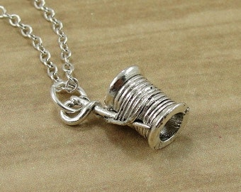 Spool of Thread Necklace, Silver Plated Needle and Thread Charm on a Silver Cable Chain