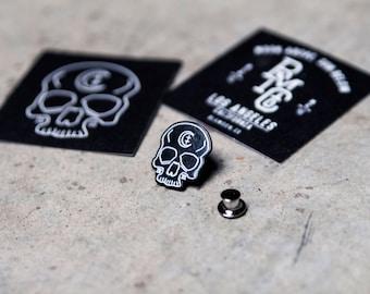 Black Moon Skull Enamel Pin