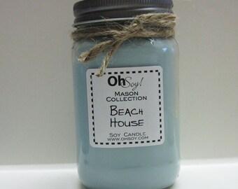 Soy Mason Jar Candle - Beach House 16oz OhSoy! Mason Candle