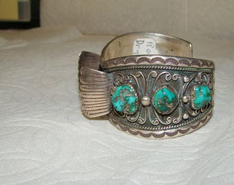 NA 3-J Sterling & Turquoise NA Watch Bracelet