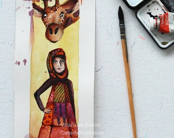 Original illustration of a woman in dress and scarf with a giraffe, original animal gouache, Christmas gift, home decoration
