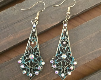 Antique Blue Filagree Earrings with Crystals.