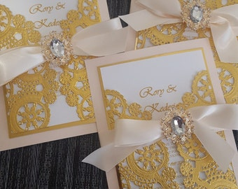 DEPOSIT-Blush and Metallic Gold Wedding Invitations