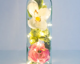 Flower Bottle Light, Pink Gifts For Her, Fairy Lights, Unusual Housewarming Gift, Pink Rose Gift, White Orchid Gift, Terrarium With Lights