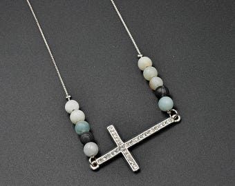 Natural  Matte Amazonite  Handmade Necklace with Cross Charm