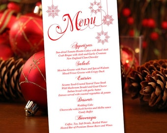 "Snowflake Wedding Menu Card Template - Printable Wedding Reception Menu ""Stringed Snowflakes"" Winter Wedding Menu Festive Red - DIY Wedding"