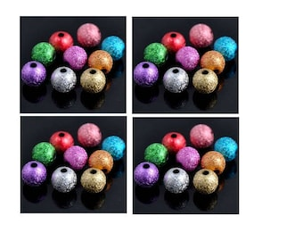 Set of 50 beads stradust multicolor acrylic 6 mm