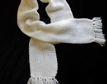 Loom Knitted White Scarf, Ladies Scarf, White Acrylic Knitted Scarf, Neck Warmer