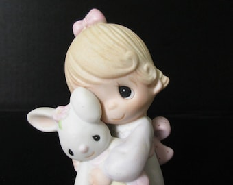 Precious Moments Girl, Jesus Loves Me ,PERFECT CONDITION, Precious Moments Girl & Bunny, Enesco E-1372G, Collectible Statue Figurine