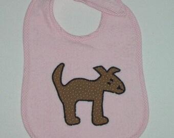 Handmade Baby Bib - Toddler Bib - Dog - Applique - Terrycloth Toddler Bib