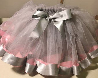 Girls, Baby, Toddler, Infant Silver Tulle Skirt with Pink & Silver Satin Trim